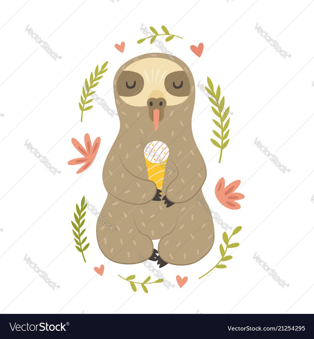 Funny sloth eating ice cream