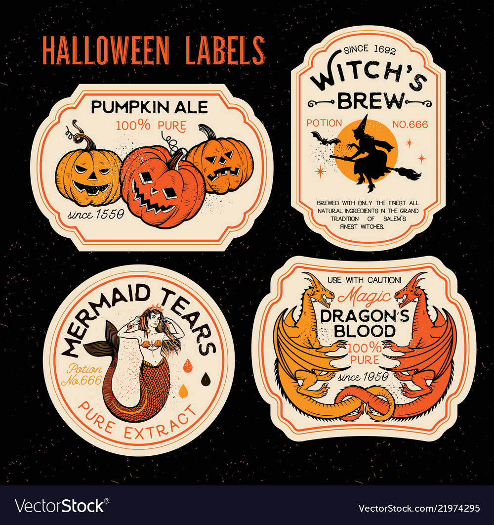 halloween bottle labels potion labels royalty free vector