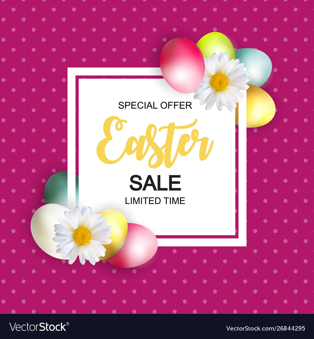 Happy easter cute sale poster background with eggs