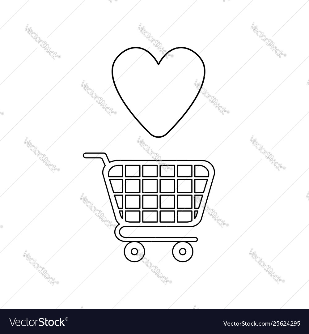 Icon concept shopping cart and heart