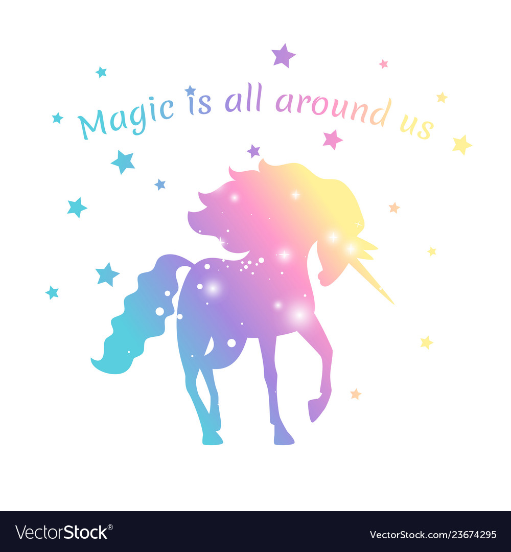 Magic unicorn color with stars isolated on white
