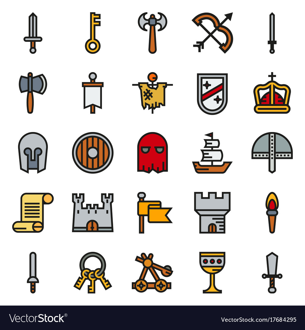Medieval icon set of colour simple icons