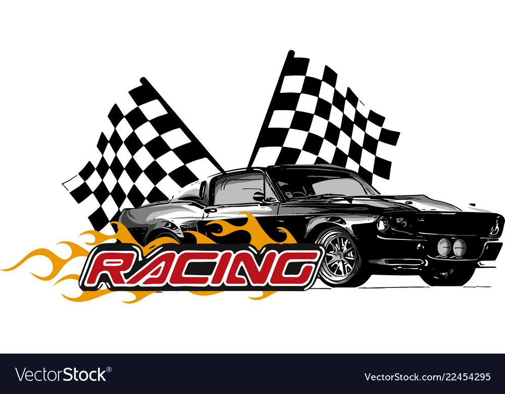 Muscle Car With Flames And Royalty Free Vector Image
