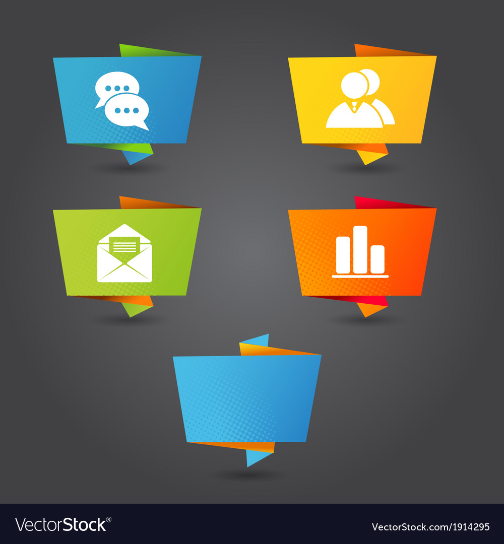 Origami banner with office icons vector image