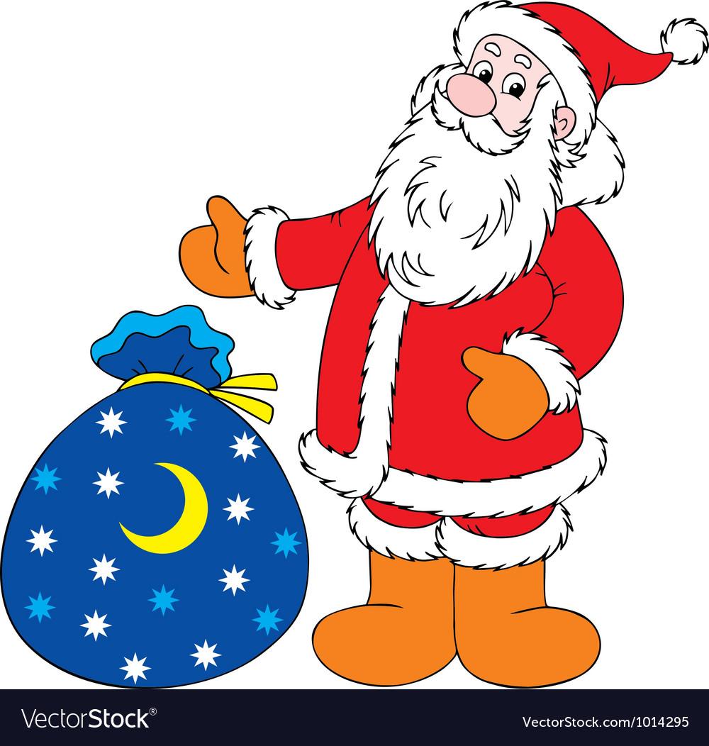 santa claus and bag with gifts vector image - Santa Claus Gifts