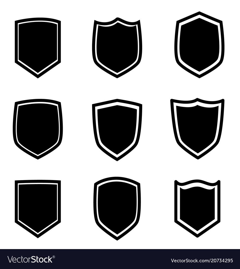 Shield icon set on white background flat style