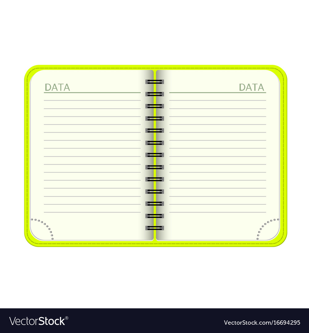 template open a blank notepad personal royalty free vector