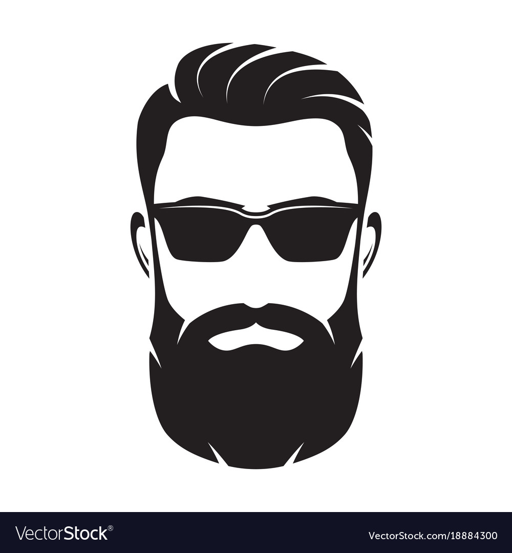 Bearded man s face hipster character fashion
