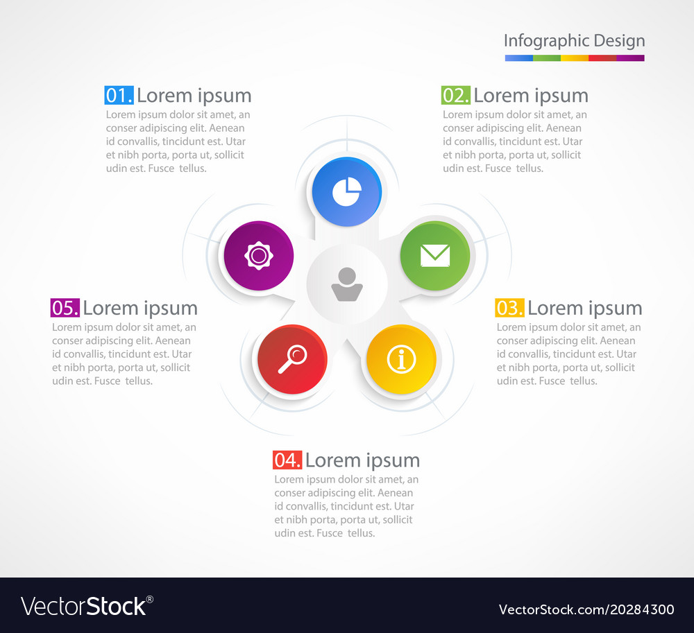 Business infographic design template with 5 steps