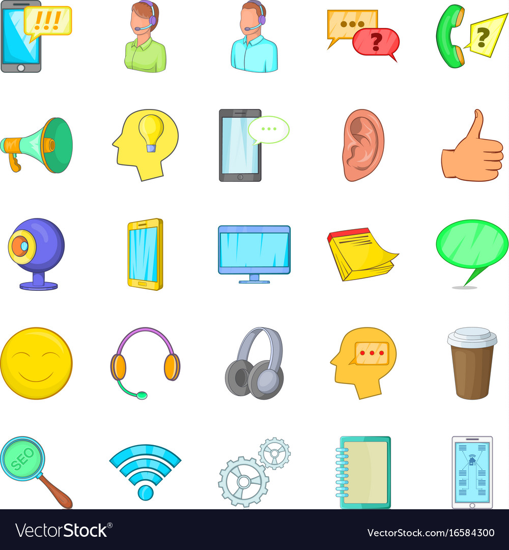 Cell phone icons set cartoon style