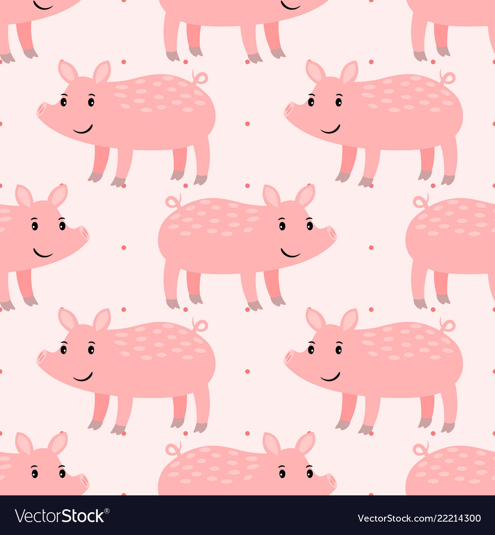 Cute pink pig seamless pattern