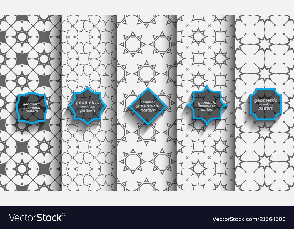 Delicate seamless islamic patterns set