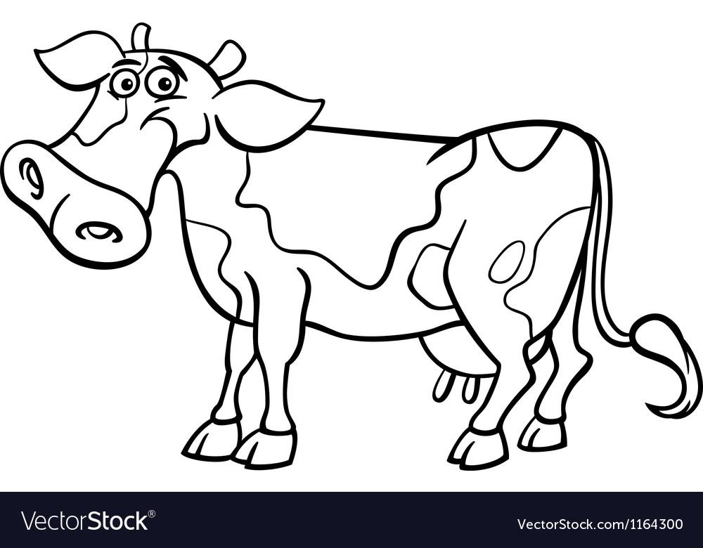 Farm cow cartoon for coloring book Royalty Free Vector Image