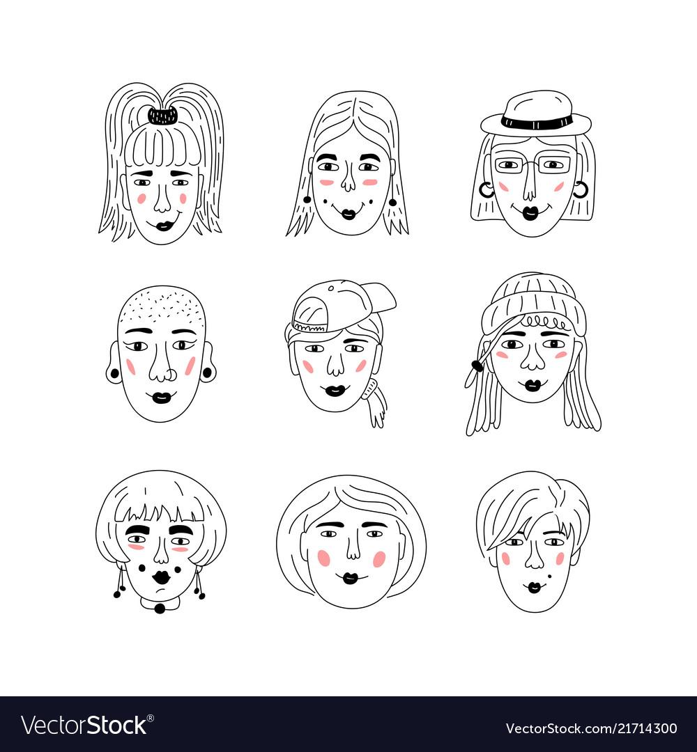 Female faces icons informal girls punk rock