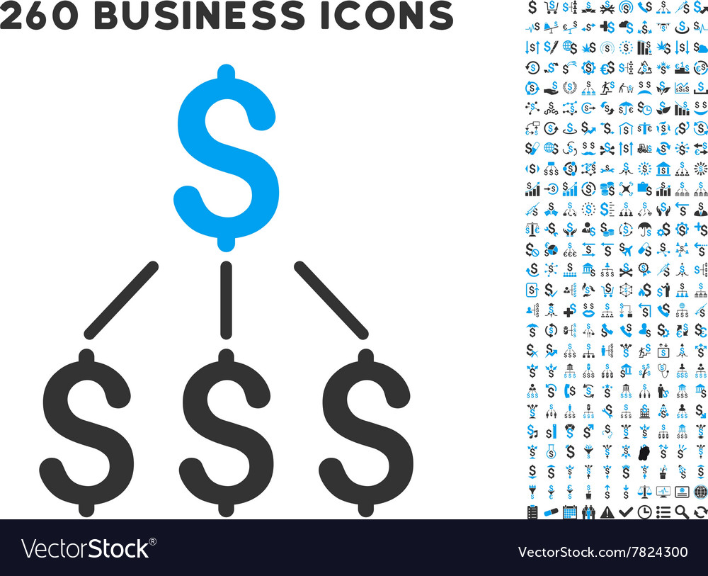 Financial structure icon with flat set