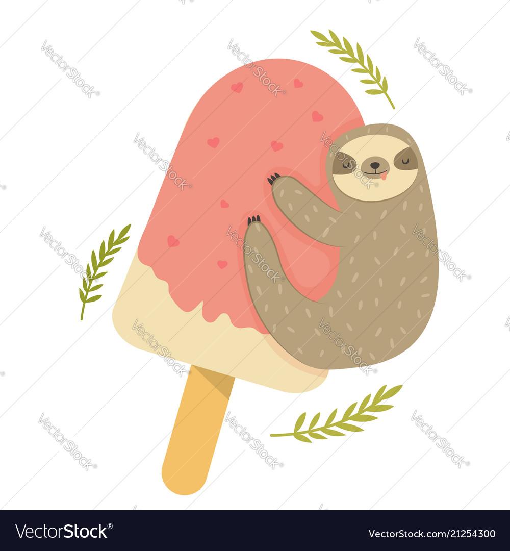Funny sloth hanging on ice cream