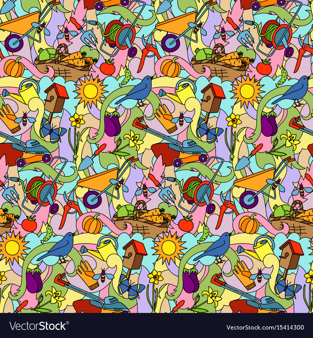 Garden colorful seamless pattern