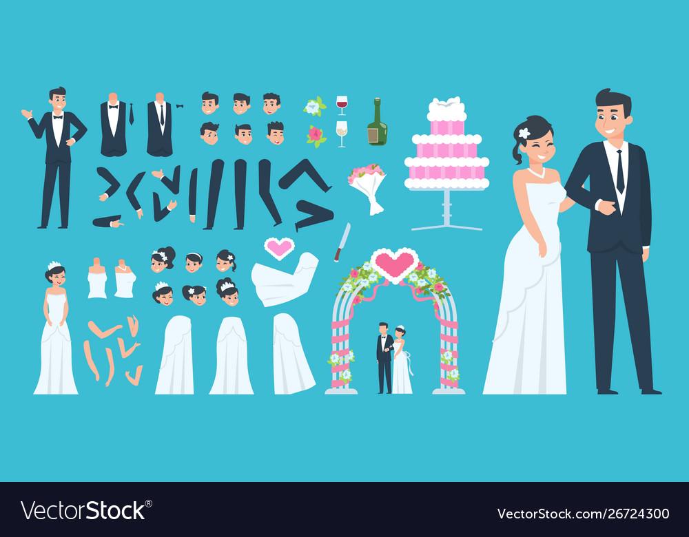 Groom and bride kit cartoon wedding characters