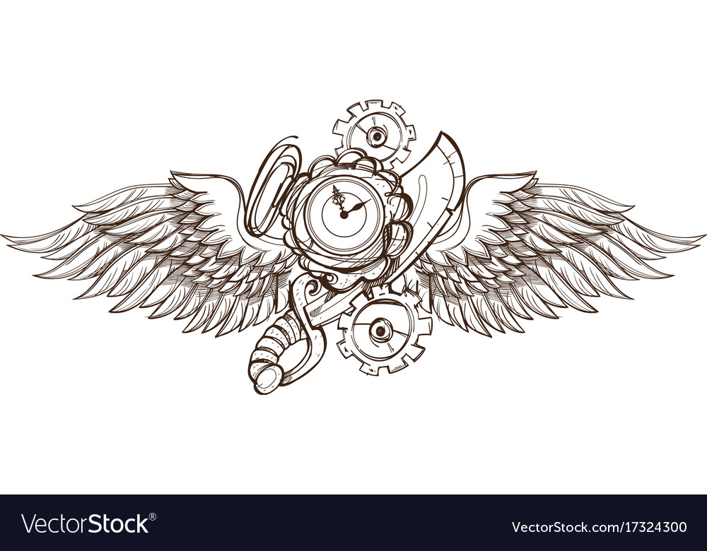 Hand drawn vintage clock with wings outline vector image