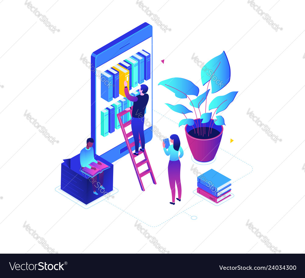 Online reading - modern colorful isometric