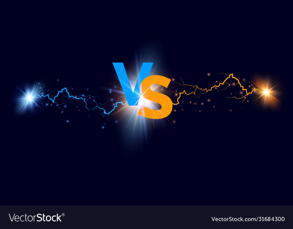 Versus background blue and orange forces lights