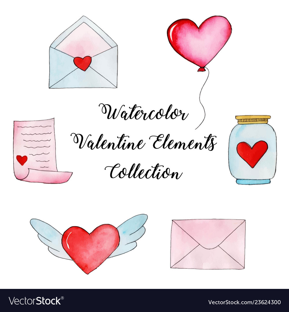 Watercolor valentine elements collection
