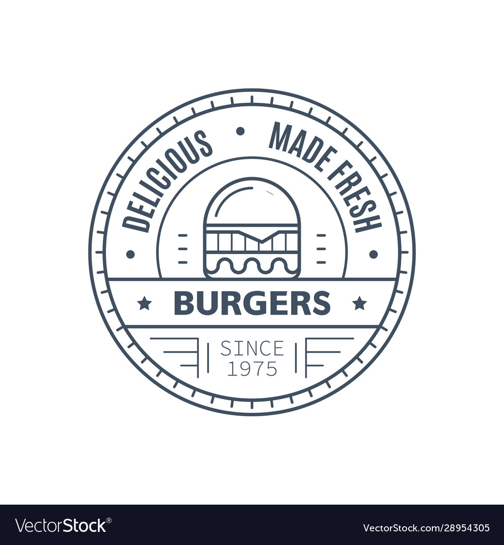 Burgers badge design line art