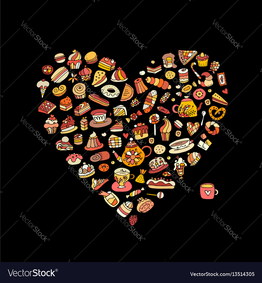 Cakes and sweets collection heart shape for your