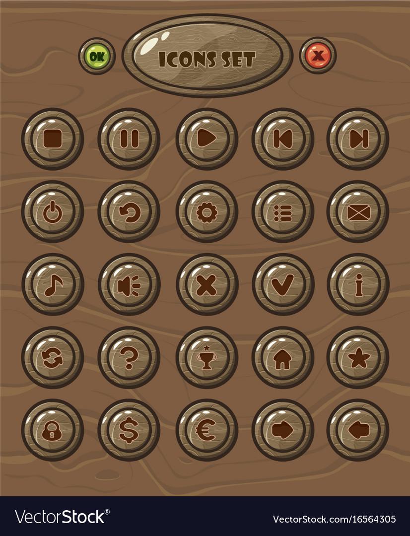 Cartoon circle buttons set