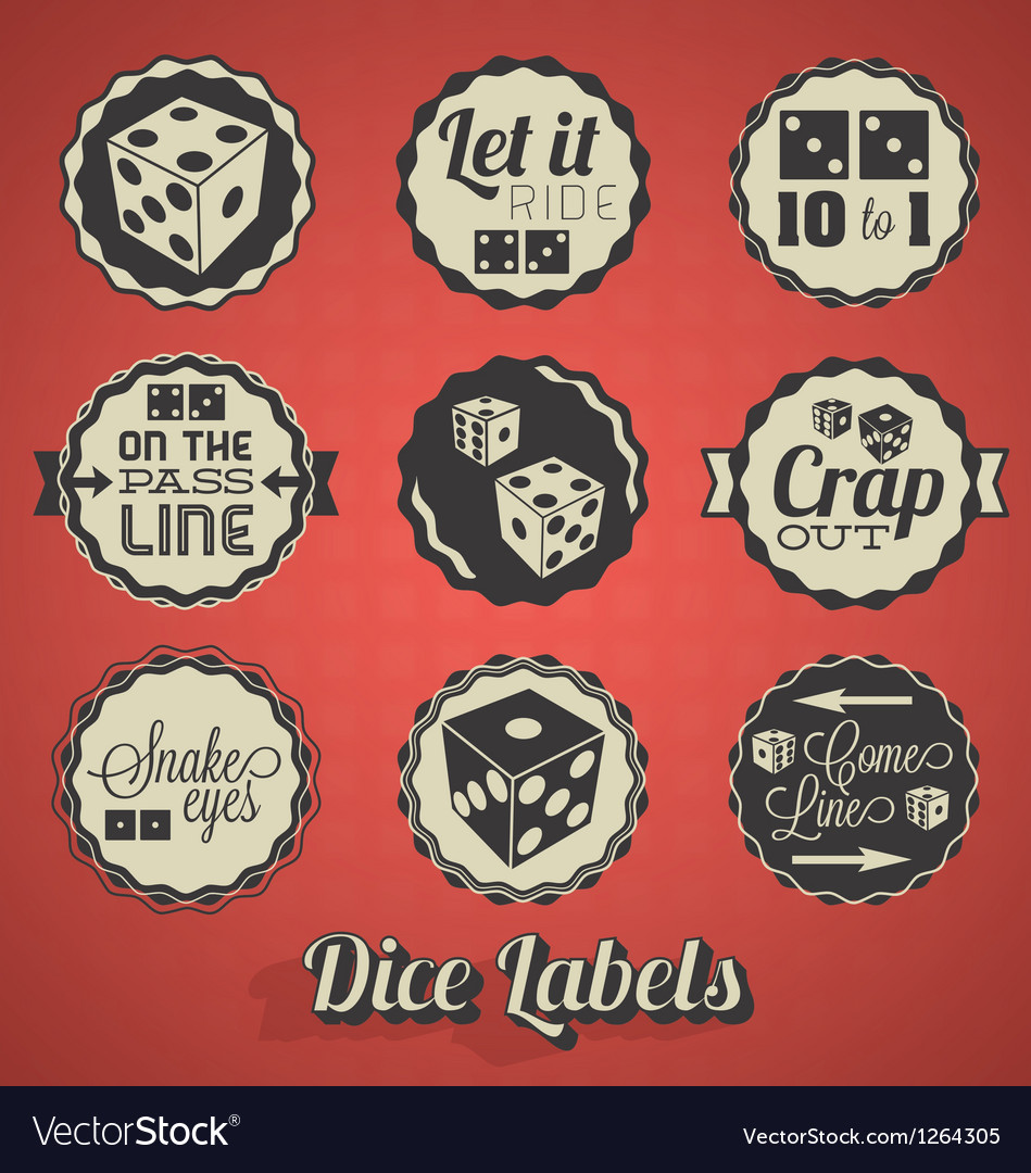 Dice and craps labels vector
