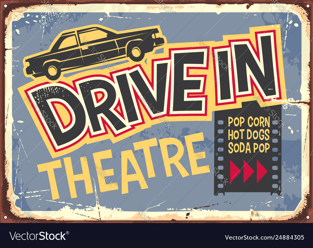 Drive in theater vintage sign design