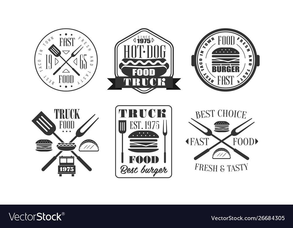 Food truck retro logo templates set fresh and