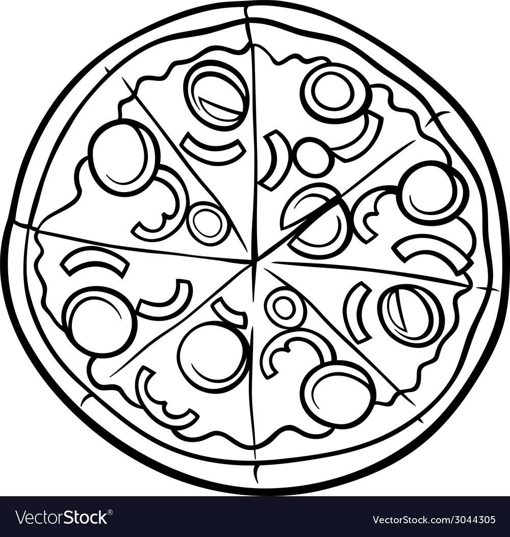 italian pizza cartoon coloring page royalty free vector
