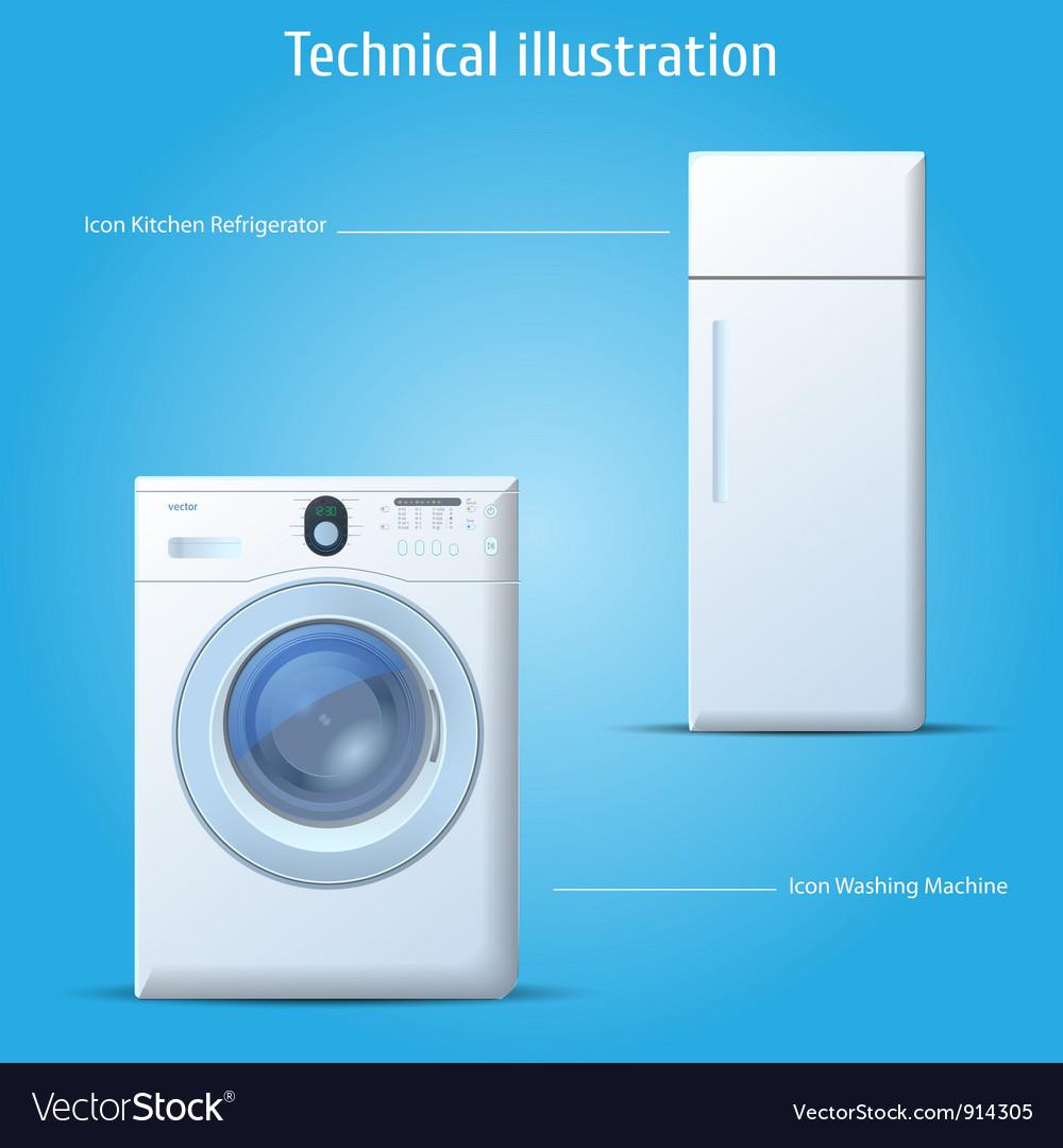 Kitchen refrigerator and washing machine vector image