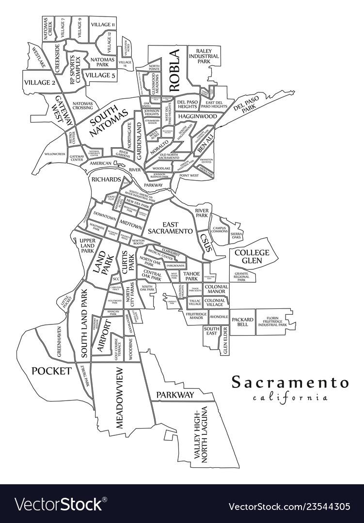 Modern city map - sacramento california city of Vector Image on