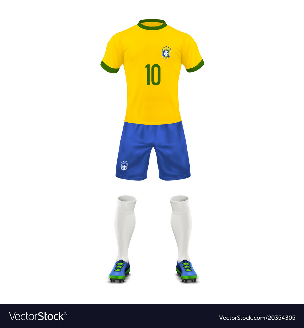 4e95a64eb Realistic soccer uniform of a brazil team Vector Image