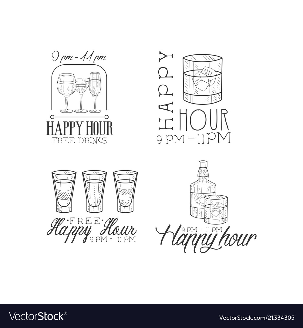 Set of 4 promotion signs for cocktail bar