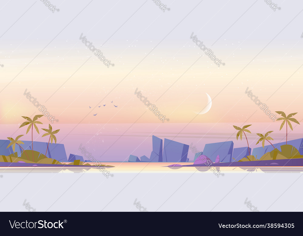 Tropical landscape with sea bay and moon in sky