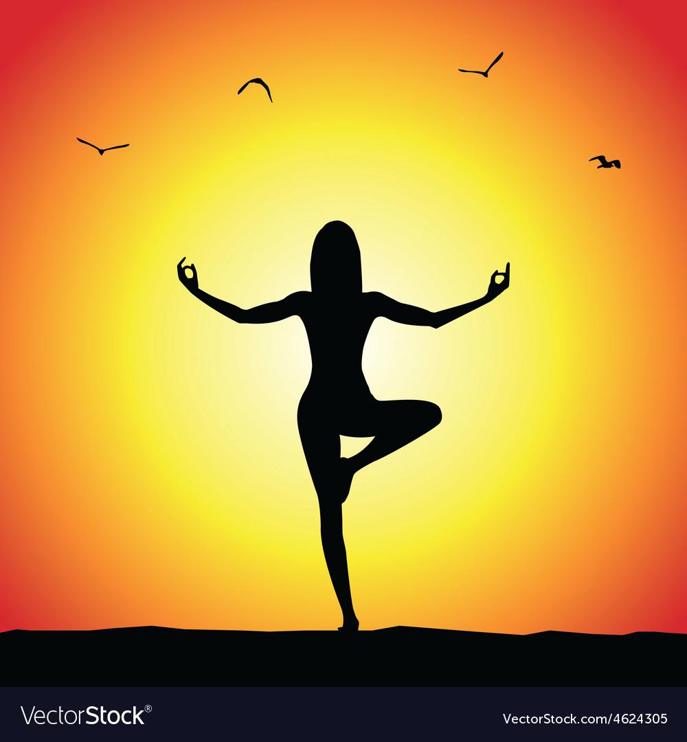 Yoga Pose Silhouette Vector Image