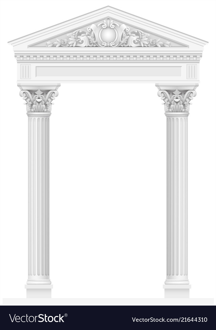 Antique white colonnade with old ionic columns