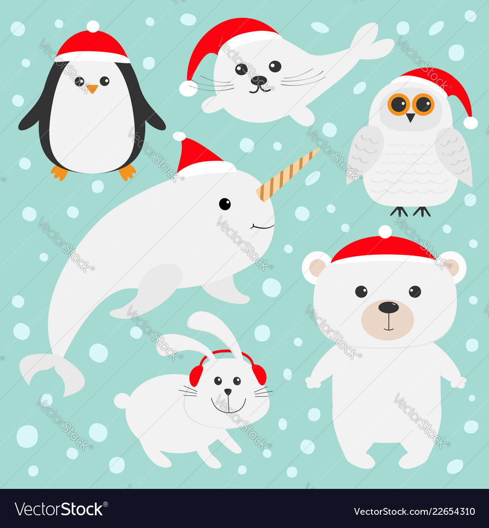 Arctic polar animal set in red santa hat white