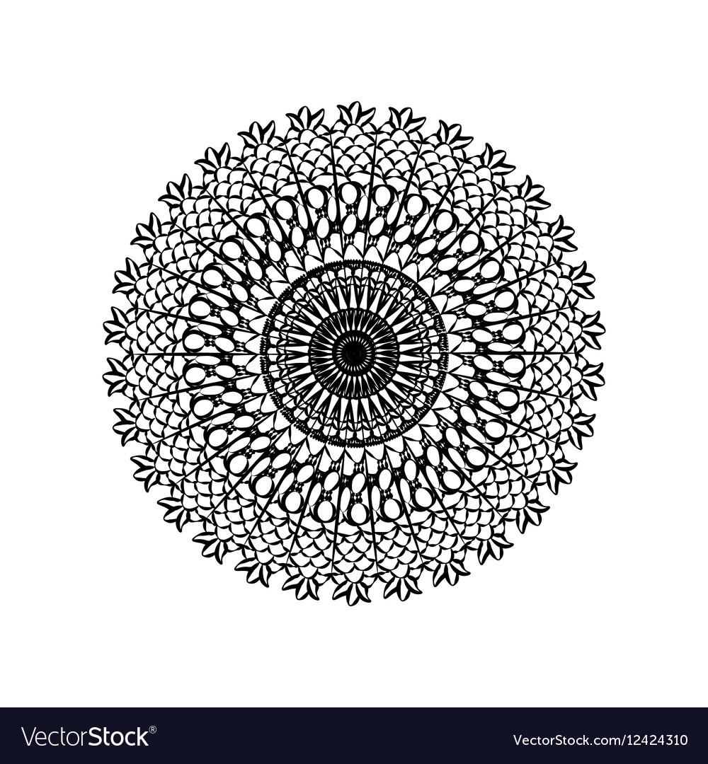 Delicate crochet lace round ornament vector image