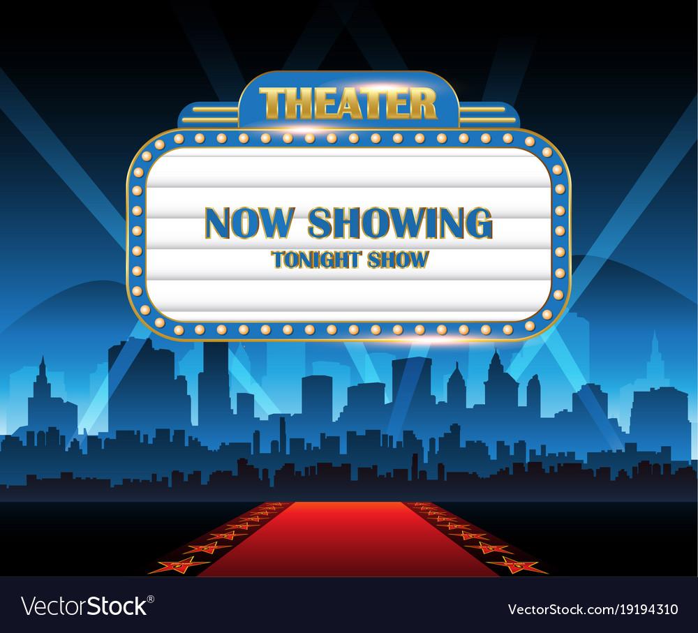 Gold brightly theater glowing retro cinema neon vector image