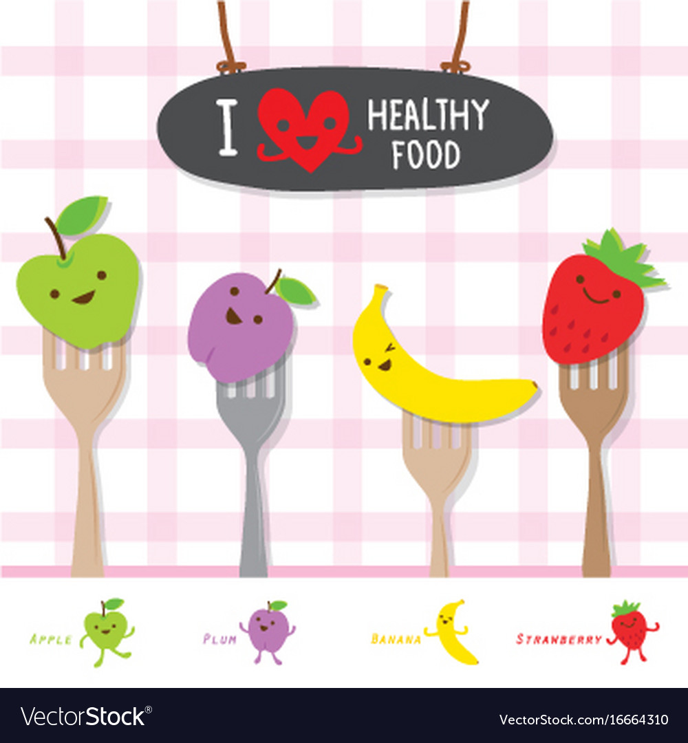 Healthy food fruit diet eat useful vitamin cartoon