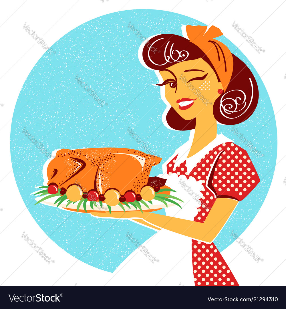 Housewife portrait with roasted chicken on plate