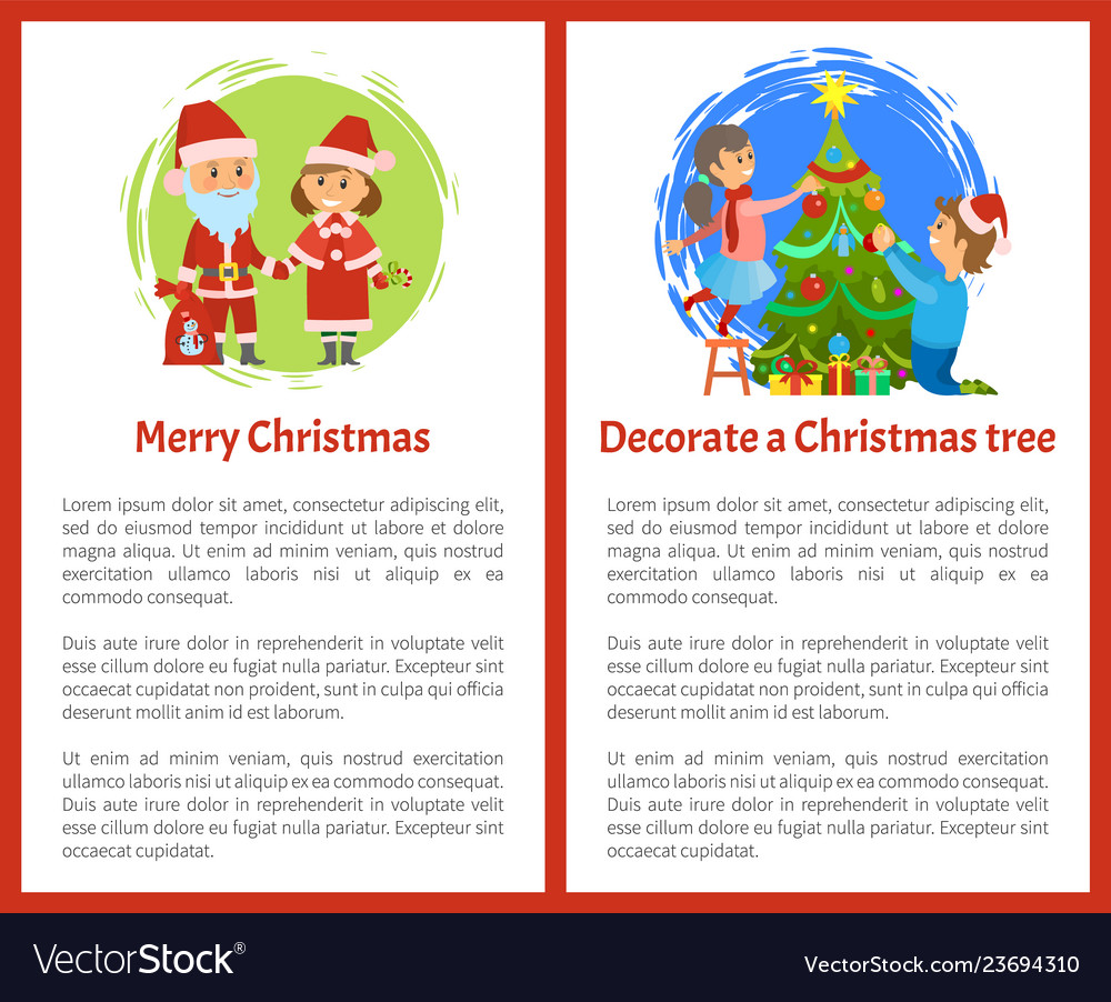 Merry christmas and decorate xmas tree posters