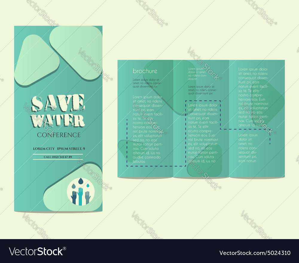 Save water conference flyer invitation template vector image stopboris Choice Image