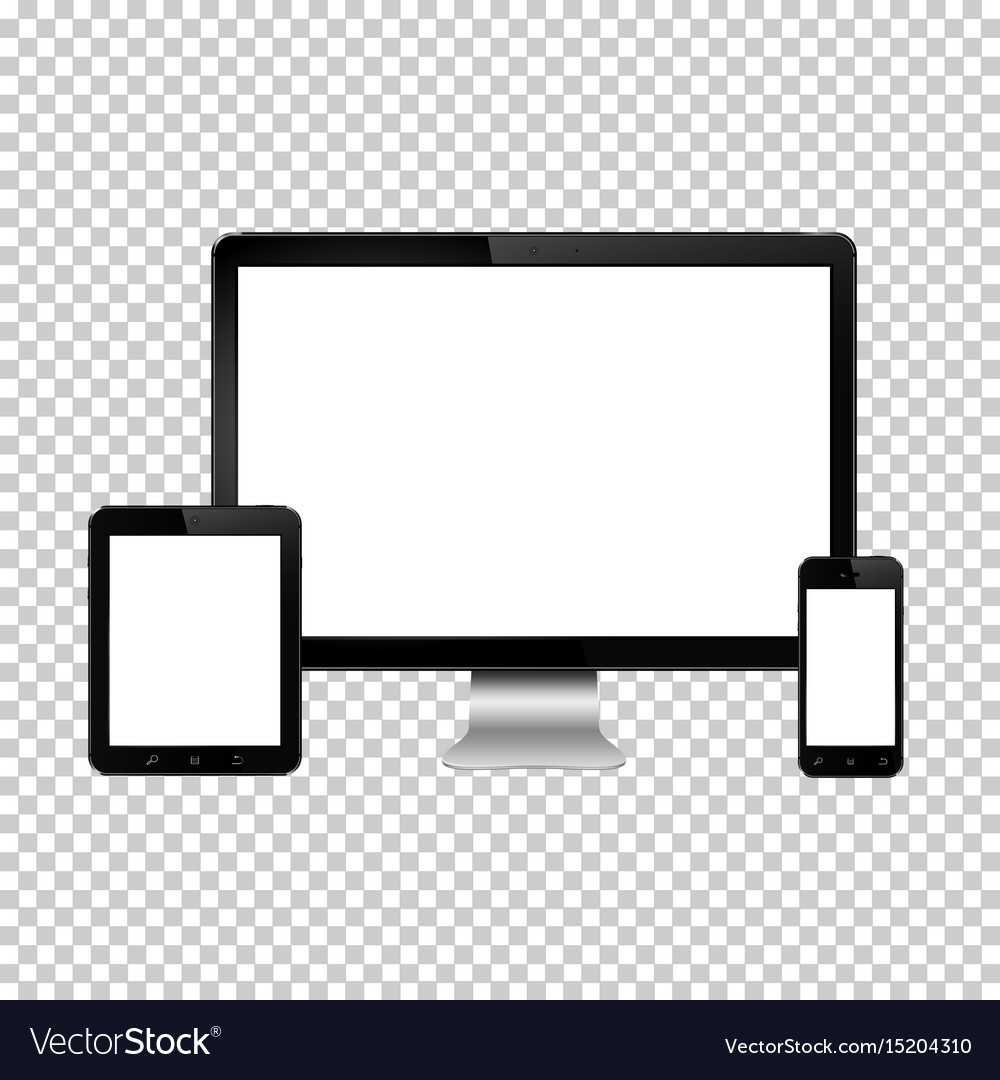 Set of realistic computer monitor digital tablet