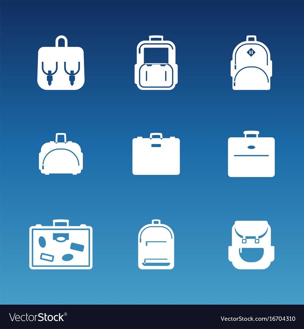 White flat travel bag icons set vector image