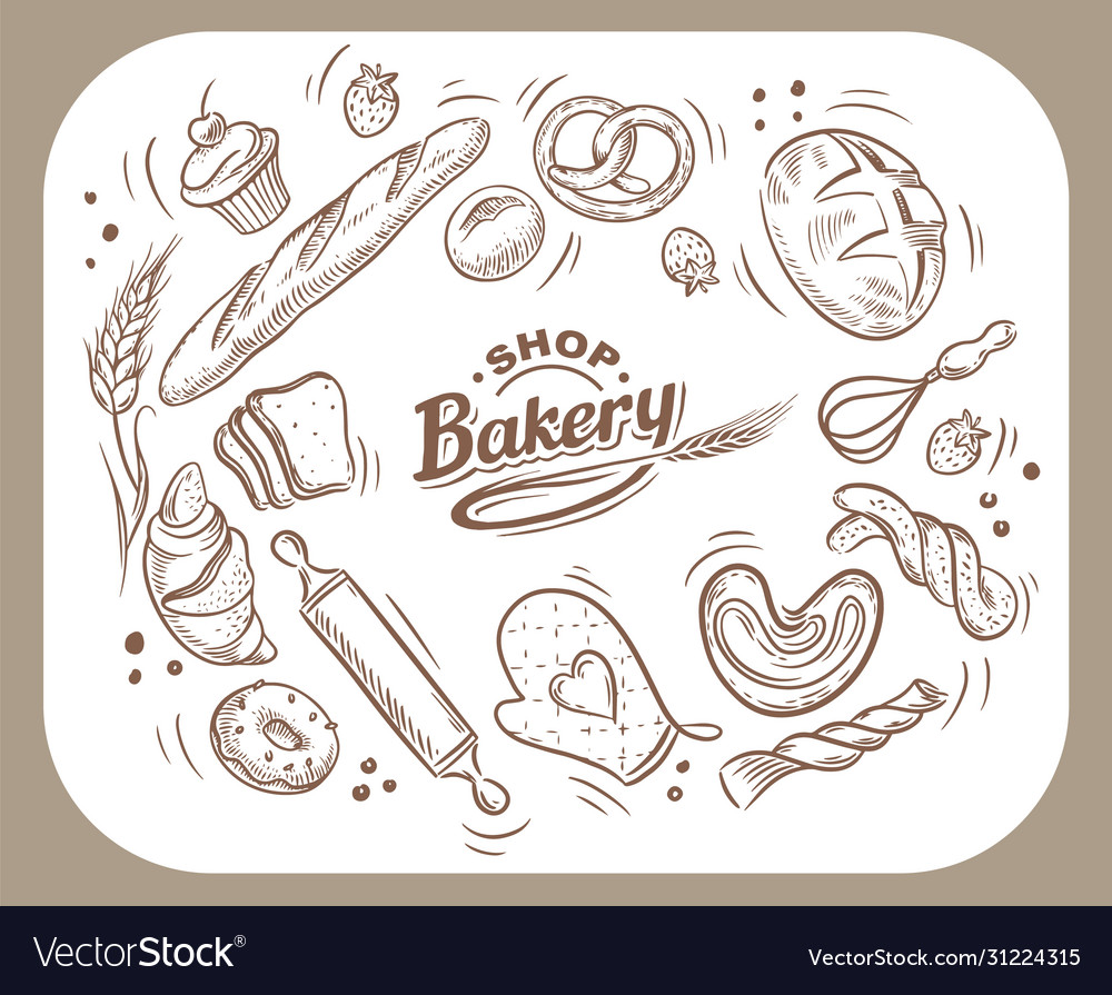 Card design with drawn baking